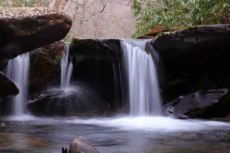 Slow Shutter Speed Waterfall Photography of a Small Fresh Water River in the Mountains.