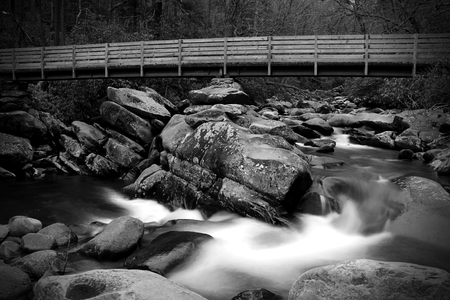 Slow Shutter Waterfall Photography with a Wooden Bridge in the Great Smokey Mountains National Park. Stock Photo