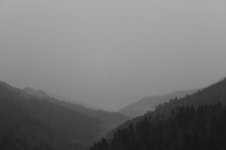 Black and White Nature Photography of the Landscape of the Great Smoky Mountains National Park. Stock Photo