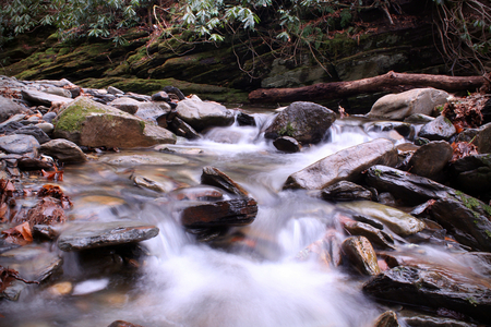 Nature Photography of Slow Shutter Speed Riverscape or Waterscape in the Smokies Mountain Woods.