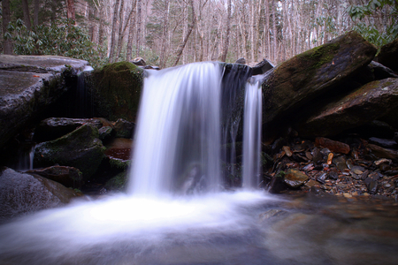 Small Fairytale River Waterfall in the Smokey Mountain Woods at Dusk.