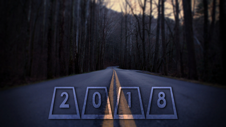 2018 New Years Eve Numbers Perspective Street Photography or Typography in the Woods.