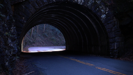 Stone Tunnel Road in the Deep Woods During Sunset Time.