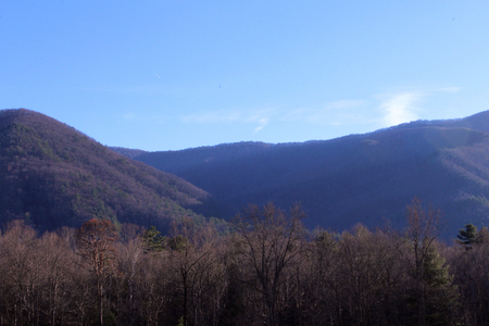 Closer View of the Smoky Mountains Landscape Nature Photography in the Bright Early Morning.