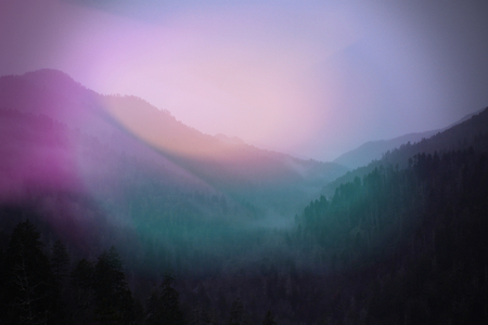 Colorful Sunlight Blurs of Pink and Green Landscape Photograph of Smokey Mountains. Stock Photo