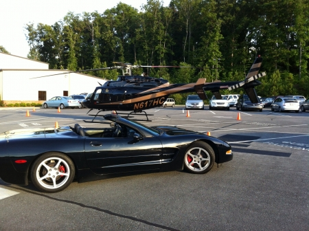 corvette: Corvette in front of a Helicopter  Stock Photo
