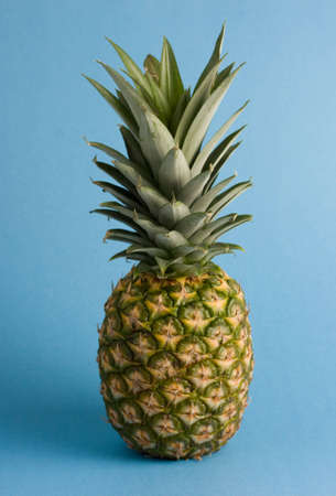 Whole pineapple against a blue background