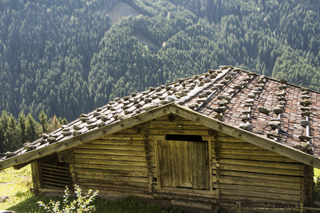 lonely small dwelling in the mountains Stock Photo