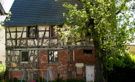 old vintage framework house run down