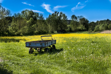 a lonely trailer in the grass with yellwo flowers Фото со стока