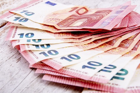 Ten euros bills in a group