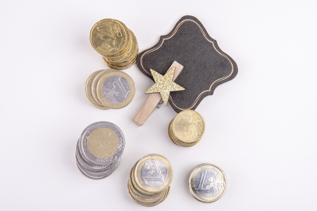 empty label with star and euro coins
