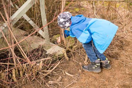 Child finds a hidden geocache in the forest Standard-Bild