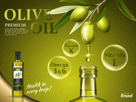 olive oil ad with some of its nutrients and olive fruit elements, 3d illustration Vettoriali