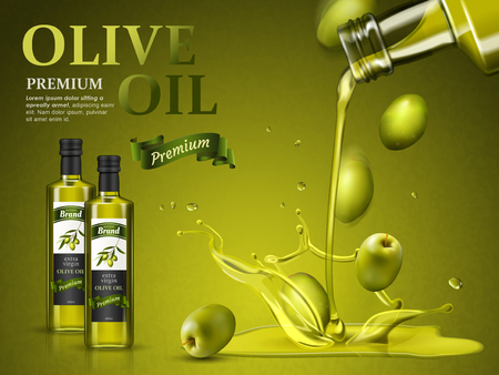 olive oil ad and olive oil pouring down, 3d illustration Stock Illustratie
