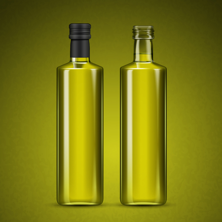 blank glass bottles with fluid inside, isolated olive green background 3d illustration