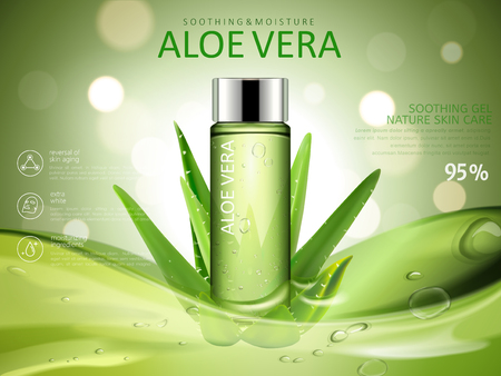 aloe vera soothing gel ad, with cosmetic bottle and aloe vera elements, green blurred background 3d illustration Illustration