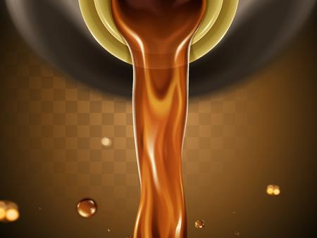 Brown liquid flow pouring down from bottle, transparent background, 3D illustration