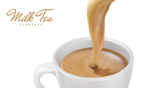 Milk tea pouring down close up, can be used as design elements, 3d illustration