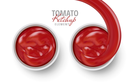 Tomato ketchup sauce contained in dishes, white background 3d illustration Illustration
