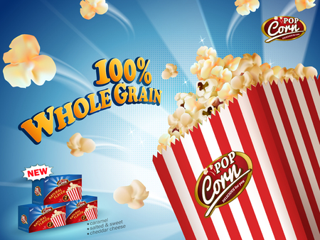 Classic popcorn ads, delicious popcorn flying out of cardboard box isolated on blue striped background in 3d illustration