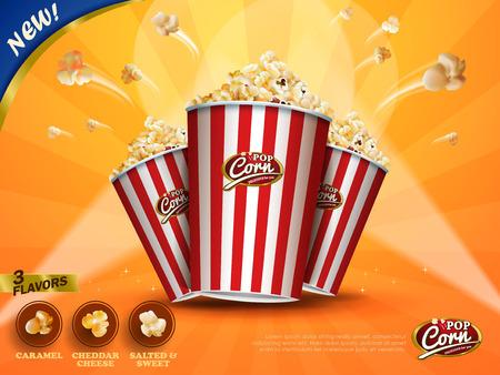 클래식 팝콘 광고, 맛있는 팝콘 3D 그림에서 노란 줄무늬 배경, 골 판지 상자에서 비행의 선택에 대 한 세 가지 맛