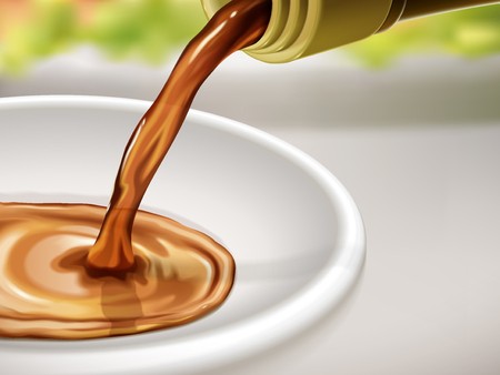 Soy sauce flow on a plate and dinner table background, 3d illustration