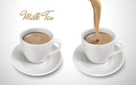 two cups filled with milk tea, one pouring down, 3d illustration Illustration