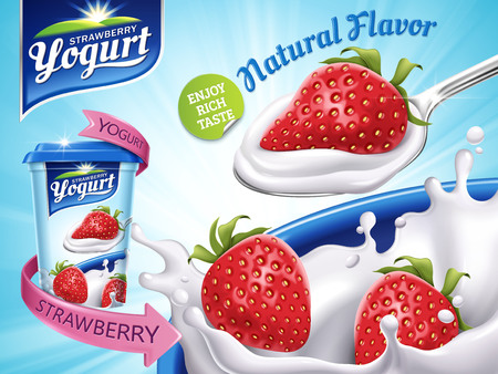 Strawberry flavor yogurt ad, with milk splashing and strawberry elements, 3d illustration 向量圖像