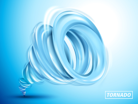 Blue cyclone element, isolated light blue background, 3d illustration