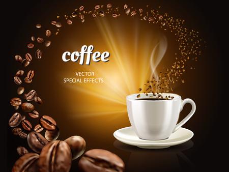 カップにインスタント コーヒーのコンセプト イラストいっぱいコーヒーと無数のコーヒー豆、3 d イラストレーション