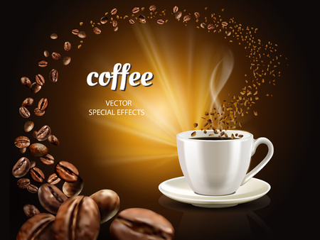 Instant coffee concept illustration with cup filled coffee and countless coffee beans, 3d illustration