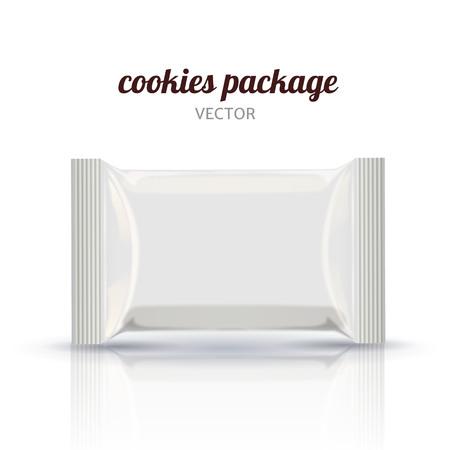 Maqueta de los elementos de empaquetado de la galleta en blanco, ilustración 3d usada como elementos del diseño Foto de archivo - 82763613