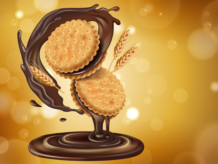 Chocolate flavor sandwich cookie, can be used as design elements in 3d illustration. Illustration