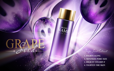 Grape seed skin care oil contained in a glass bottle; with bright flow effects in 3d illustration.