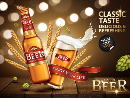 Classic beer ad contained in bottle and in a glass, with bright red labels stuck on, 3d illustration