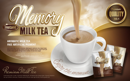 Milk tea pouring down in cup with product packages, 3d illustration