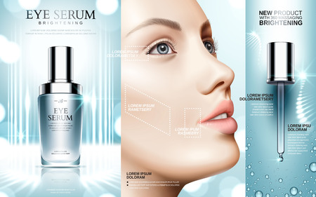 Eye serum contained in cosmetic bottles and a models face, 3d illustration