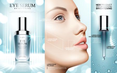 Oogserum in kosmetische flessen en het gezicht van een model, 3d illustratie