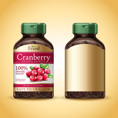 Cranberry dietary supplement package design, isolated golden background in 3d illustration