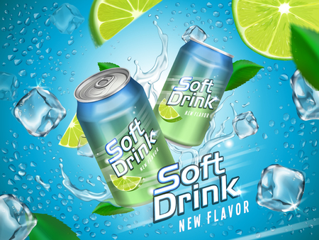 Soft drink contained in metallic cans with lemon and ice cube elements, light blue background Illusztráció