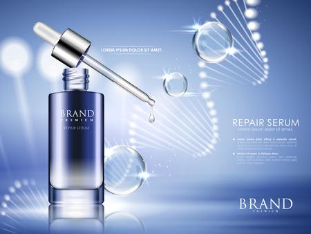 Botella azul contenida con suero de reparación con estructura helicoidal y gotas de agua, ilustración 3d