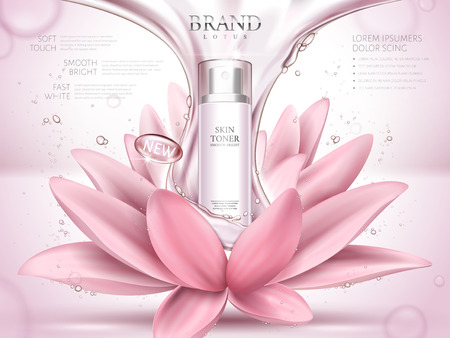 A lotus skin toner ad contained in bottle, with glossy fluid and lotus flower elements, pink background 3d illustration.
