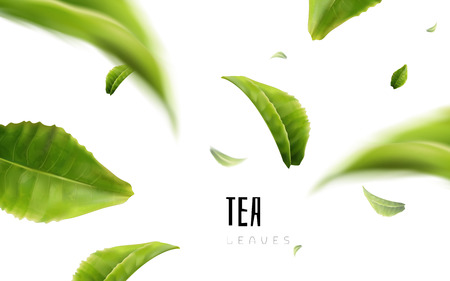 Vividly flying green tea leaves, white background 3d illustration Stock Illustratie