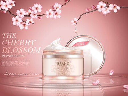 Graceful cherry blossom cosmetic ad, cream bottle upon water surface, sakura branches with dripped water in 3d illustration