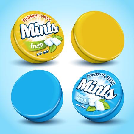Mint flavor chewing gum package design, 3d illustration Illustration