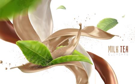 비행 녹색 나뭇잎과 음료 흐름, 현실적인 3d 일러스트 흐림