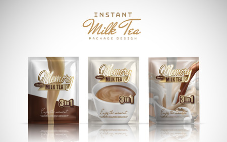 instant milk tea handy package design, white background 3d illustration