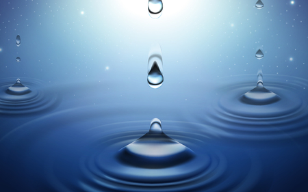 water drops and ripples background, blue background 3d illustration Illustration