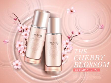 エレガントな桜化粧品の広告、3 d イラストレーションで波紋背景に分離された桜枝を持つ 2 つの絶妙なボトルのトップ ビュー